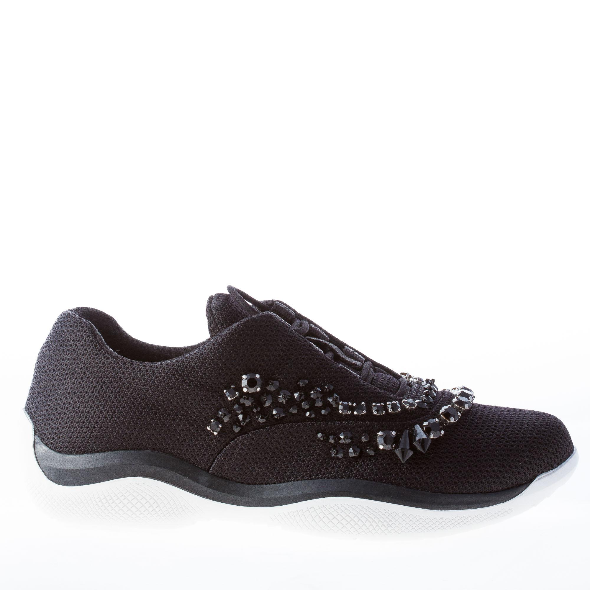 PRADA women shoes America's with Cup schwarz nylon sneaker with America's crystals and beads b00d23