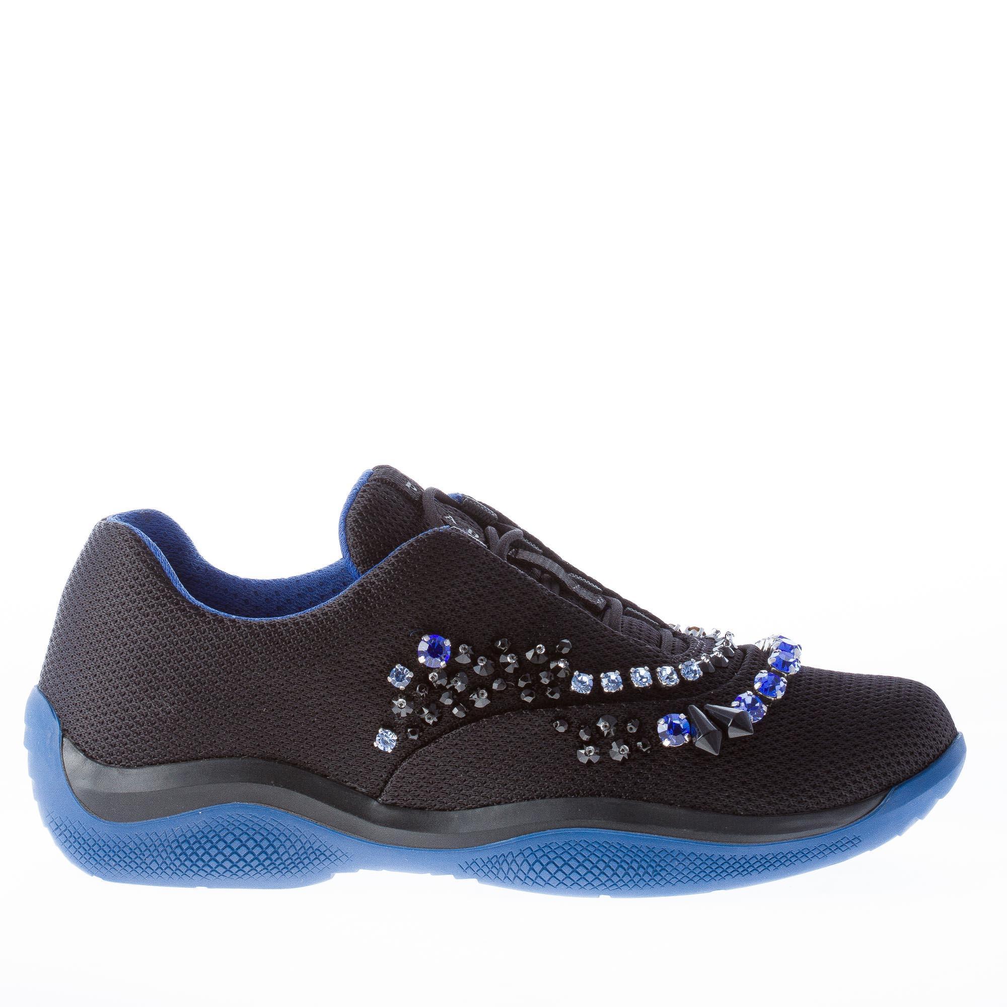 Prada Mujer Zapatos tenis de nailon negro America's Cup cristales cristales cristales de Color y granos  el precio más bajo
