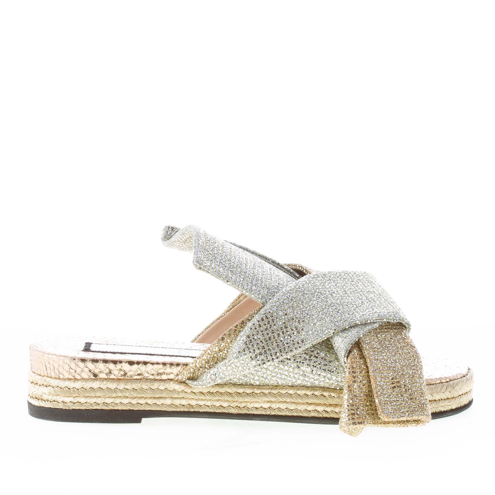 excelentes precios Nº 21 Mujeres Zapatos Zapatos Zapatos De oro Y Plata Lady Brillo Cuero Sandalia de diapositivas con arco  tienda de venta en línea