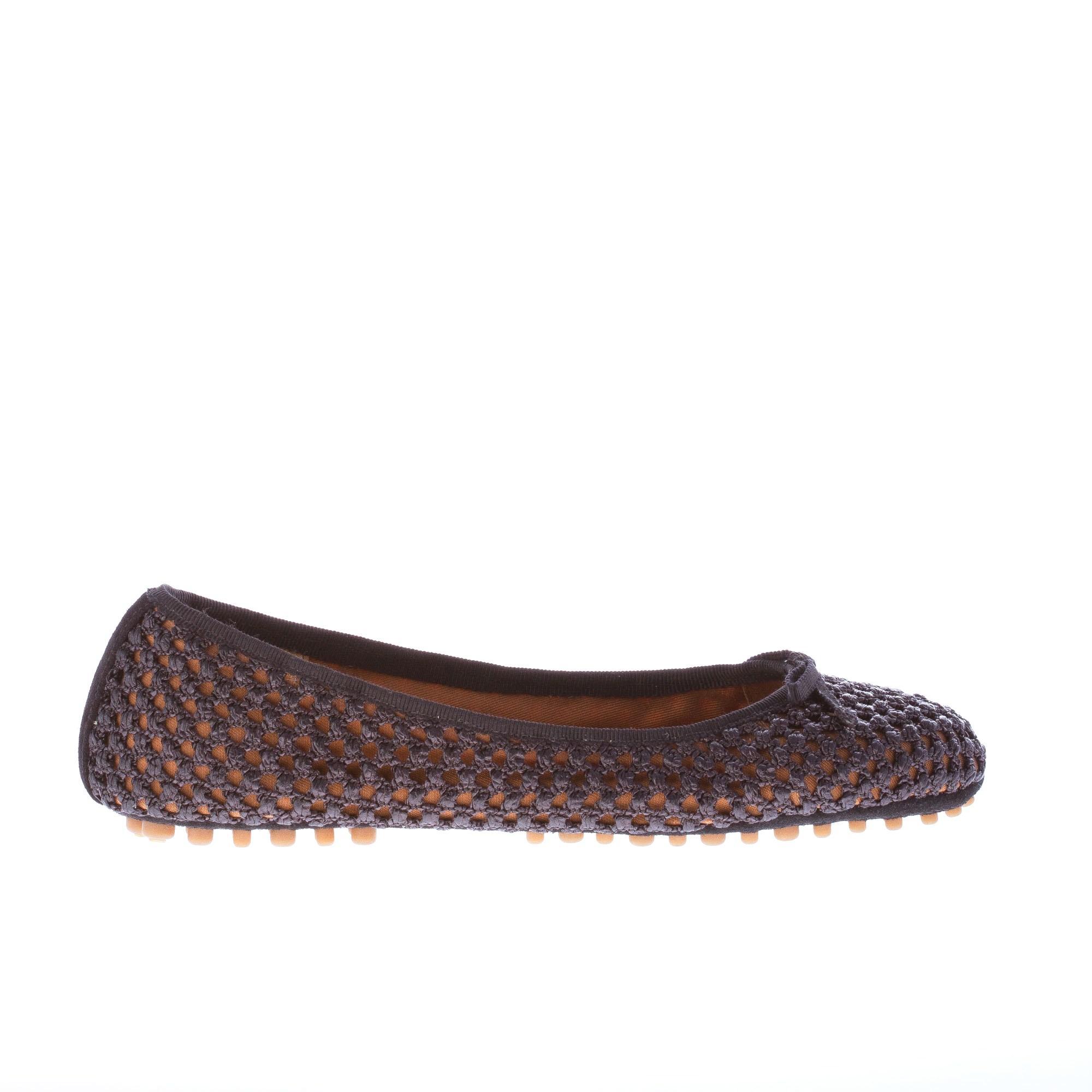 Car chaussures Femmes Chaussures Noir tressé en raphia Ballerine Plat avec bow