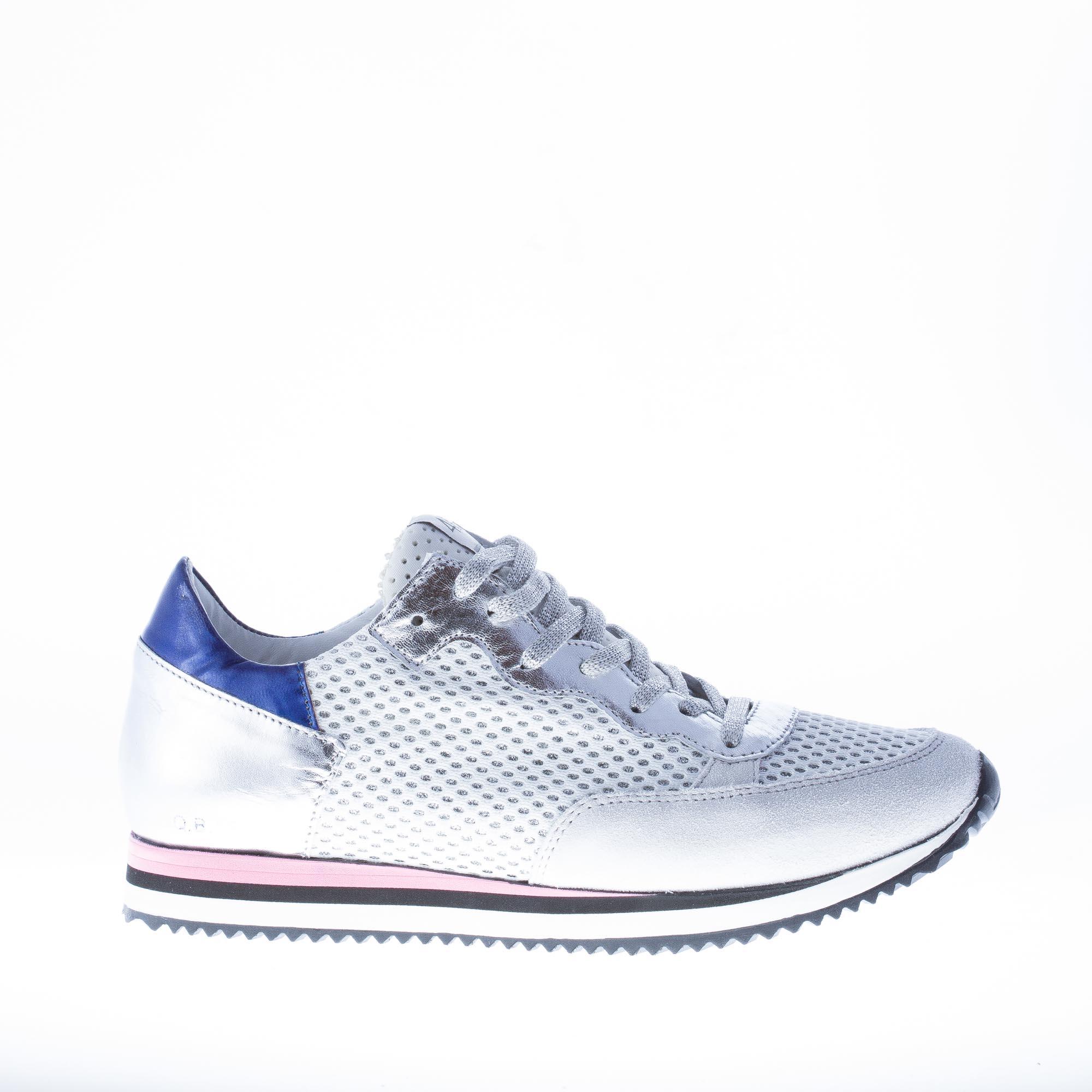 QUATTROBARRADODICI women shoes Silver leather and tech fabric mesh panel sneaker