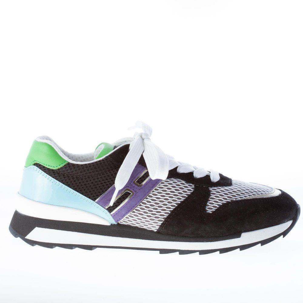 HOGAN donna R261 sneaker MULTICOLORE in camoscio, pelle e tessuto tecnico a rete