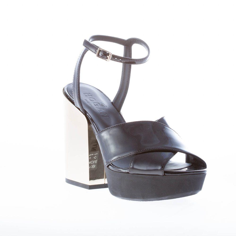 HOGAN donna sandalo in vernice NERO con cinturino alla caviglia. Tacco 12 cm