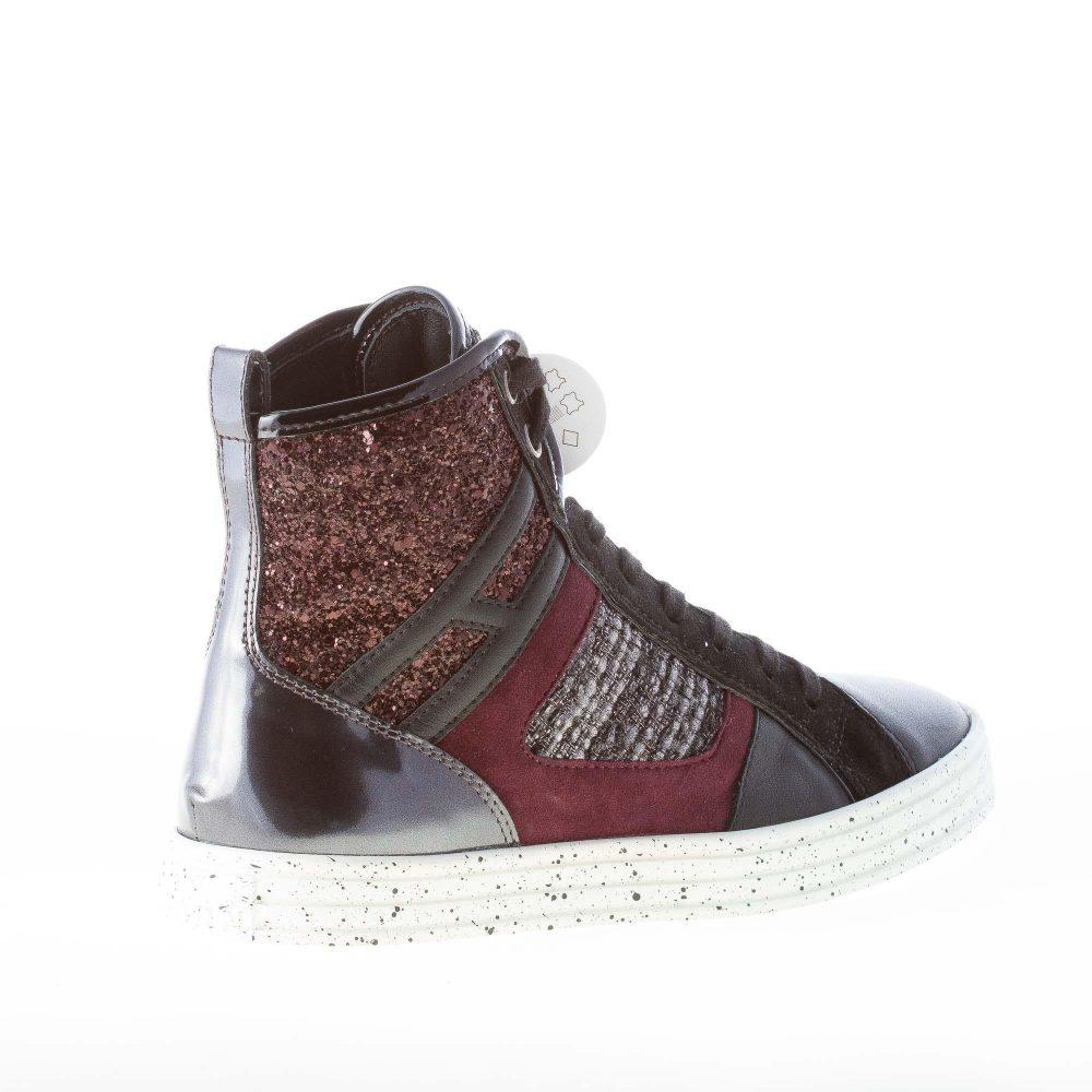 HOGAN Rebel donna R141 patchwork sneaker alta MULTICOLORE con tweed e  glitter 5da8396a717