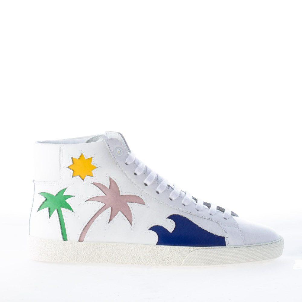 3e1f2592fa SAINT LAURENT uomo sneaker in pelle BIANCO con dettaglio palme colorate