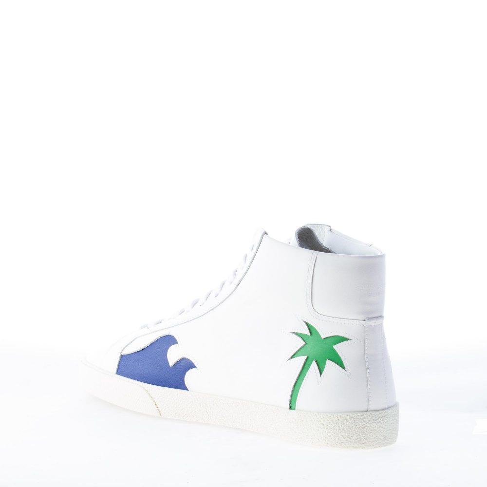 SAINT LAURENT uomo sneaker in pelle BIANCO con dettaglio palme colorate