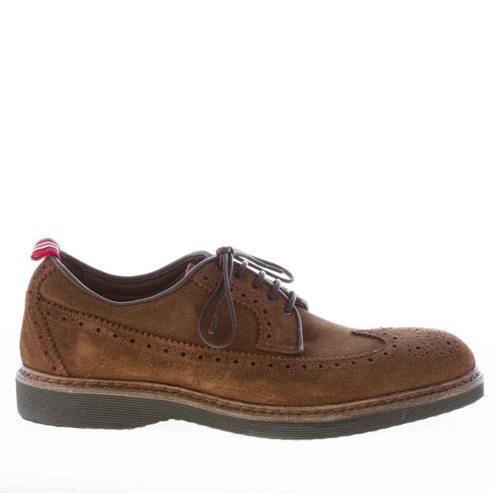 super popular a8712 55cc9 GREEN GEORGE uomo scarpa derby brogues in camoscio MARRONE TABACCO con  suola micro