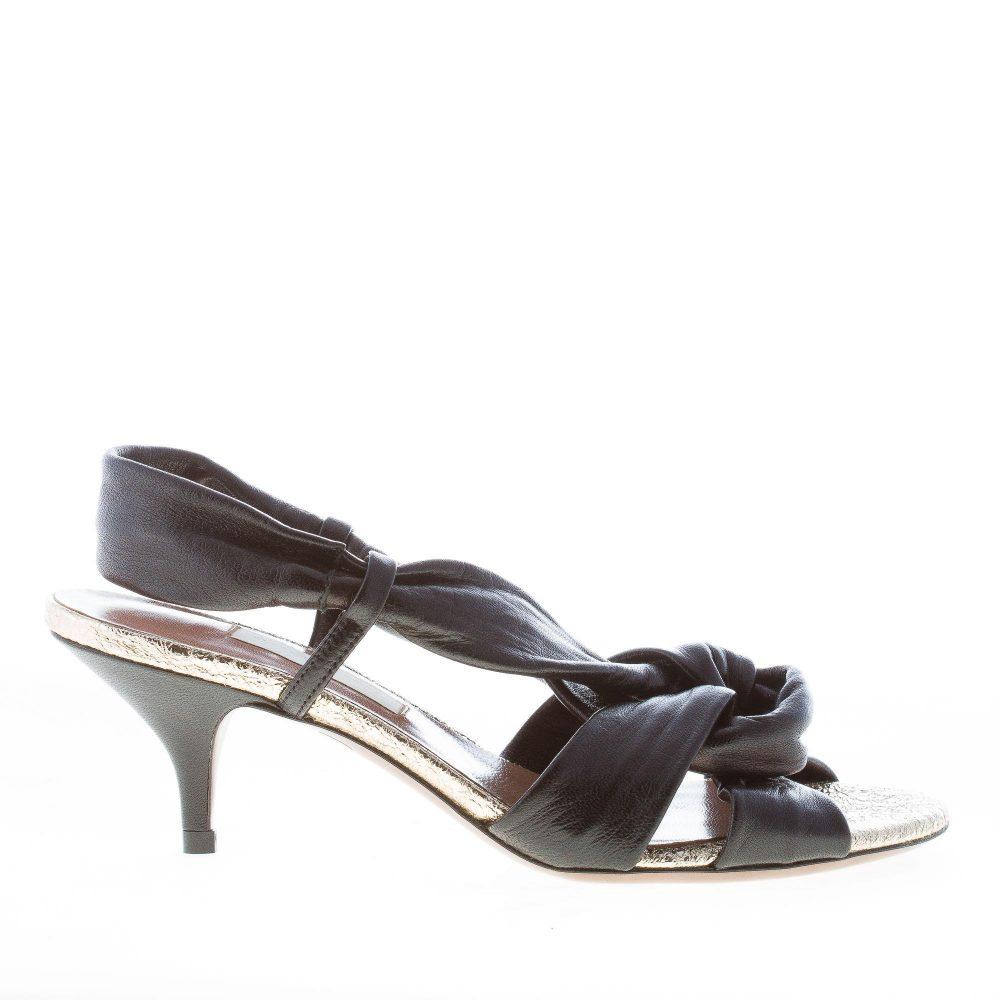 L'AUTRE CHOSE donna sandalo in nappa NERO con nodo. Tacco 5,5 cm