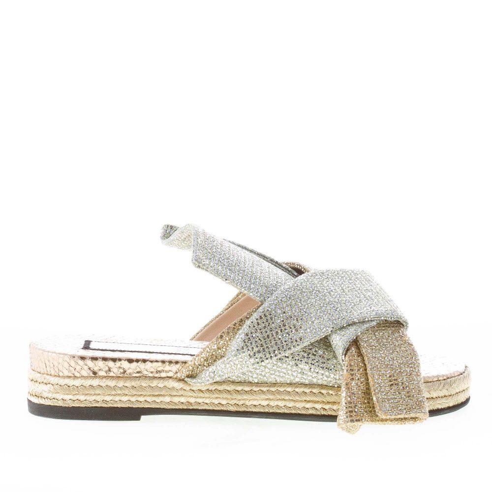 N°21 donna sandalo slide in pelle effetto glitter ORO e ARGENTO con fiocco   7b553c6f5b2