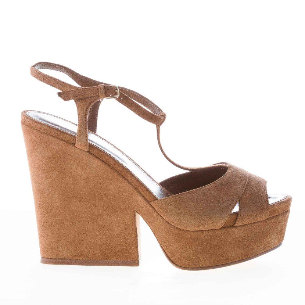 b33824bf70aaf4 SERGIO ROSSI donna sandalo Edwige in camoscio CUOIO con cinturino a T e  plateau. Tacco zeppa 13 cm | Strike Calzature