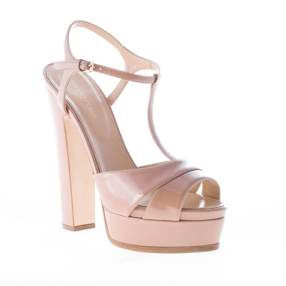 e9874bc8975b9a SERGIO ROSSI donna sandalo Edwige in vernice BEIGE con cinturino a T e  plateau. Tacco 14,5 cm