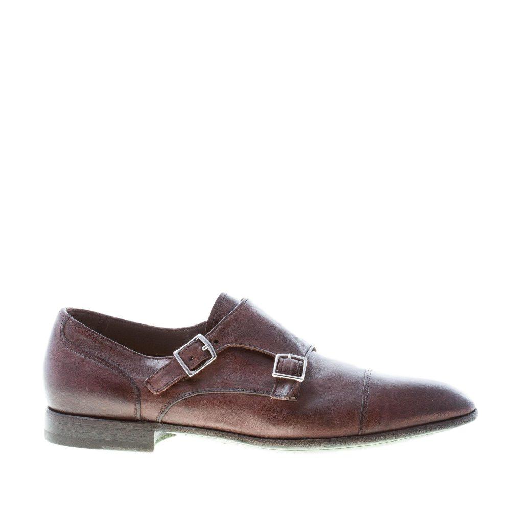 GREEN GEORGE uomo scarpa con doppia fibbia in pelle MARRONE a punta ... 8f83aafb78d