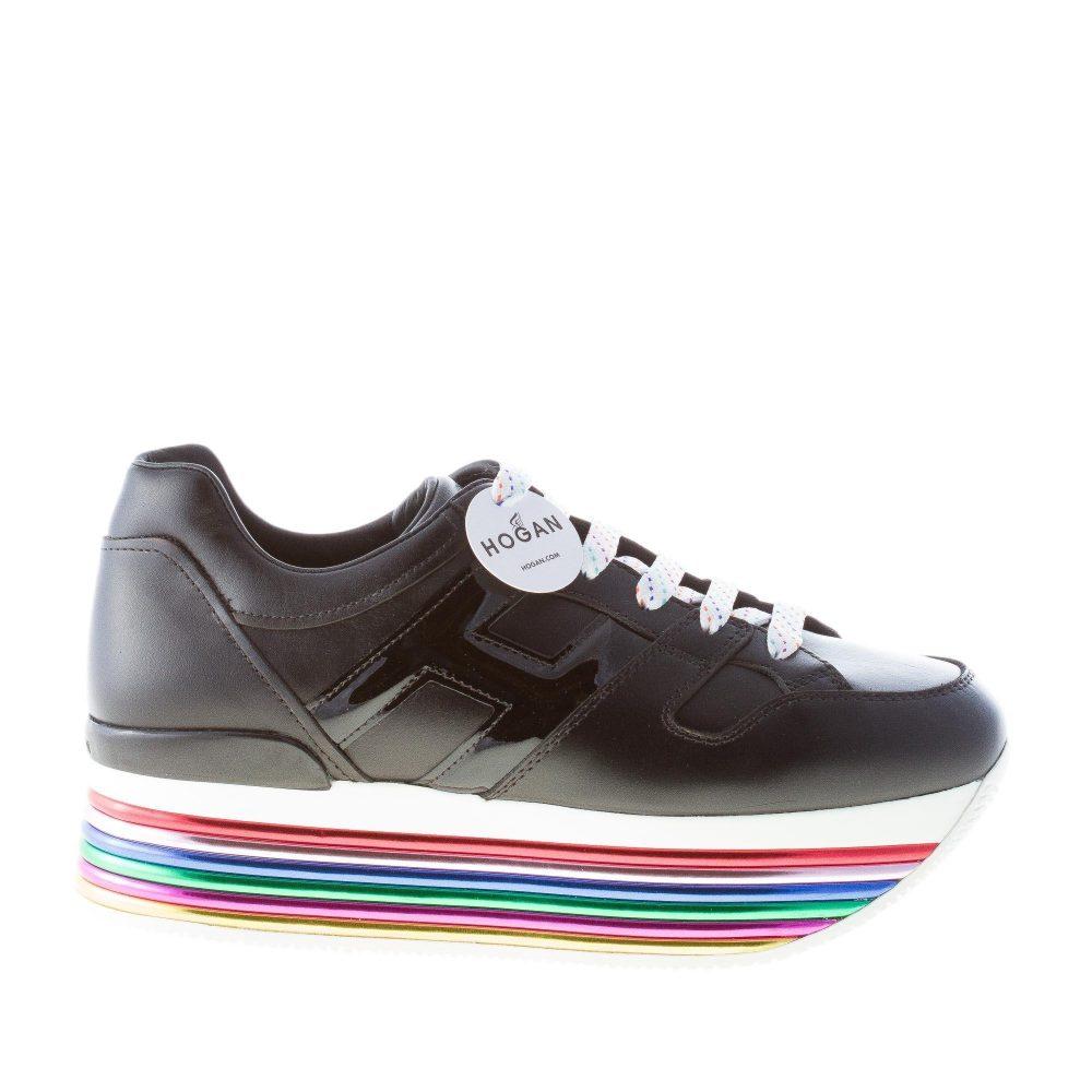 premium selection abc88 faa9f HOGAN donna Maxi H222 sneaker in pelle NERO con suola maxi multicolore