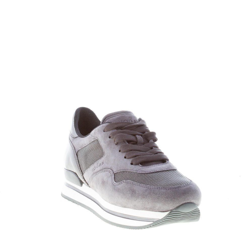 HOGAN donna H222 sneaker in camoscio e tessuto tecnico GRIGIO