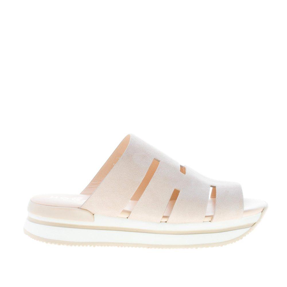 HOGAN donna H257 sandalo ciabatta con fascia BEIGE ed intagli ad H. Zeppa di 3,5 cm