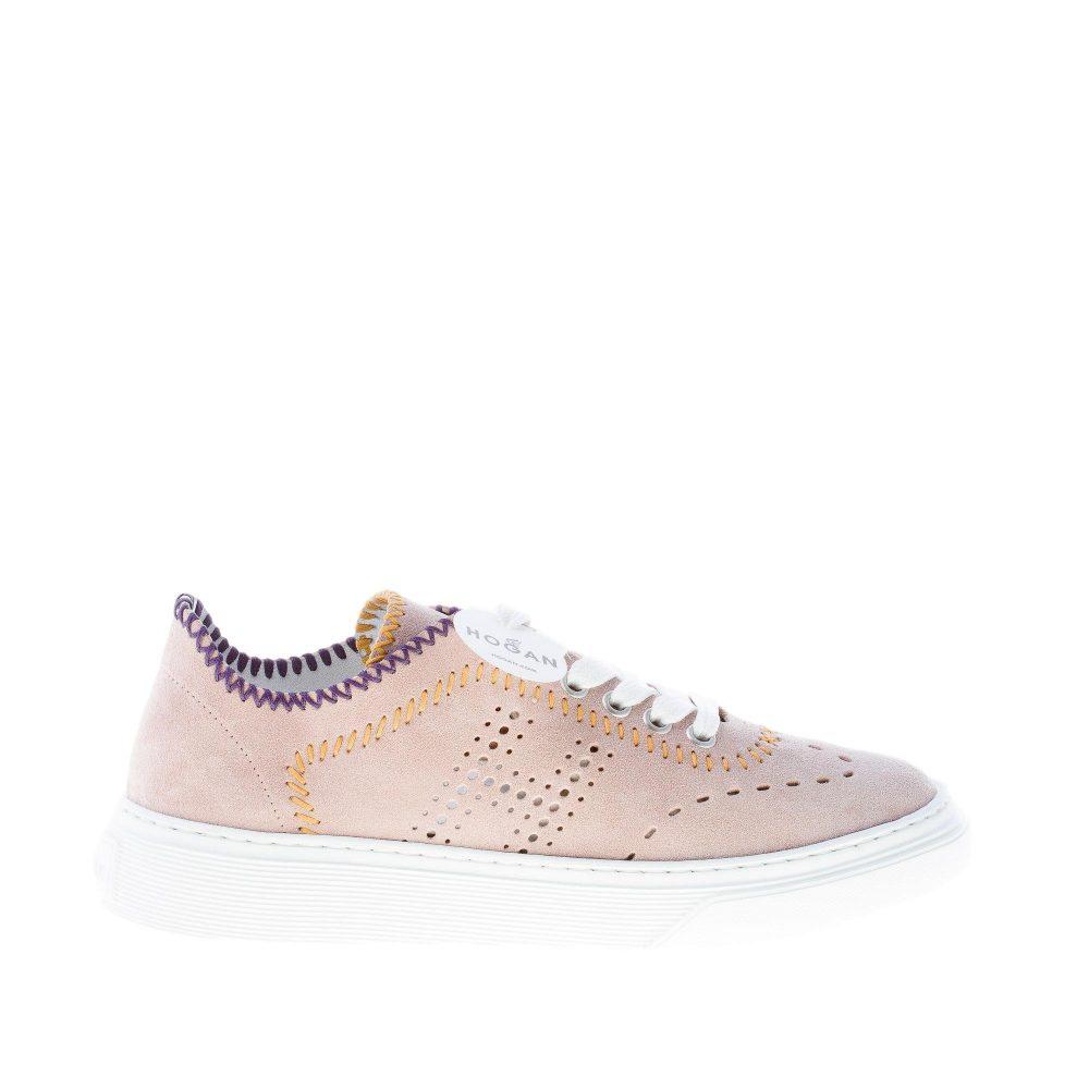 HOGAN donna H365 sneaker in camoscio ROSA CIPRIA con cuciture colorate
