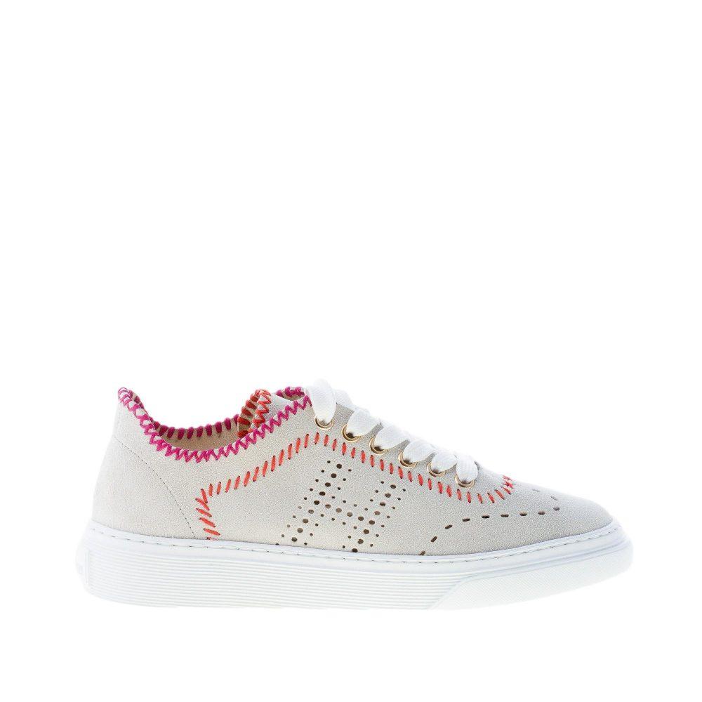 HOGAN donna H365 sneaker in camoscio GRIGIO chiaro con cuciture colorate
