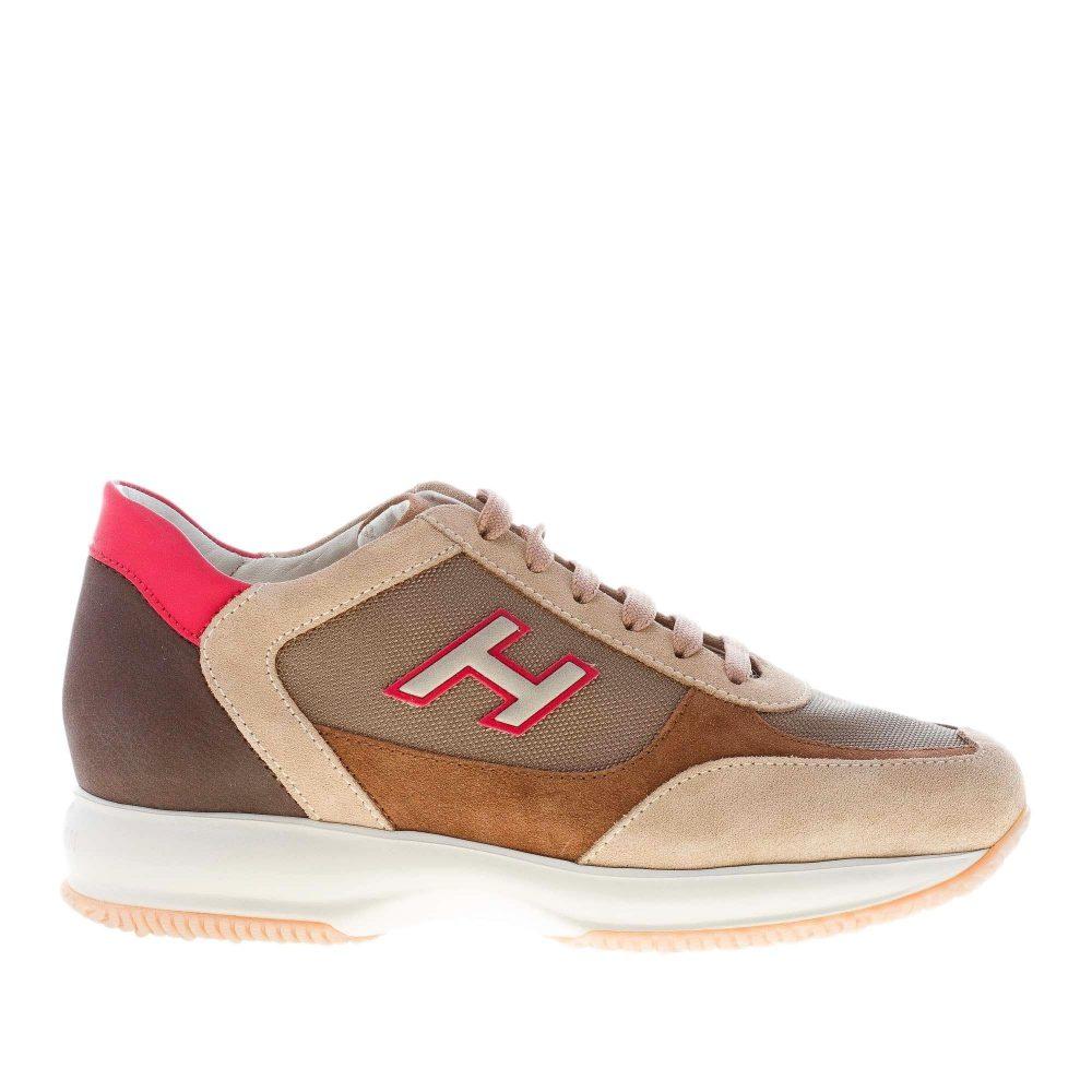 HOGAN uomo Interactive sneaker in camoscio e tessuto BEIGE più marrone e rosso